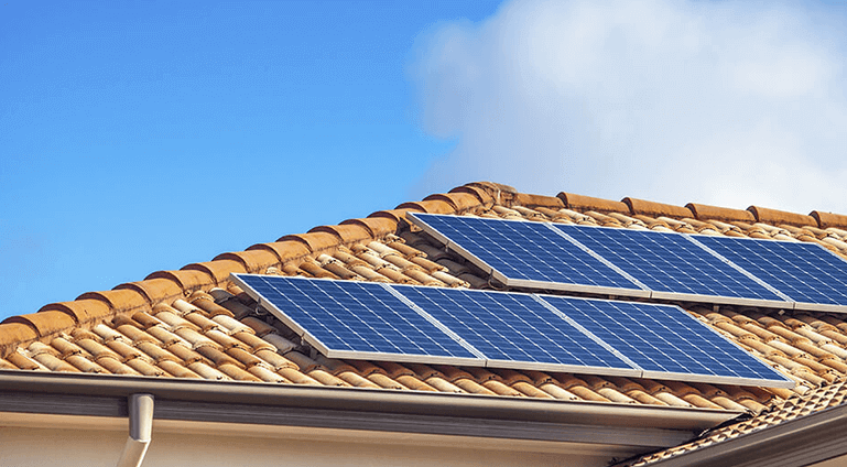 Solar on roof. Solar panel installation