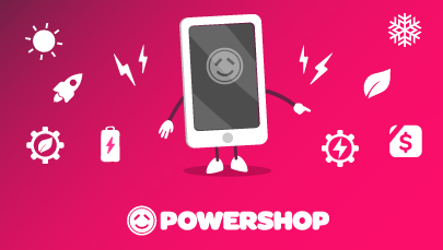 Illustration of Mobile device with Powershop app and the features of the app