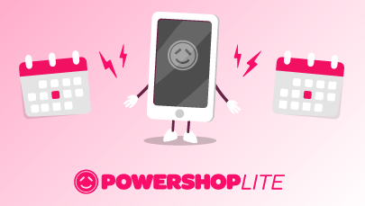 Illustration of Mobile device with Powershop app with less features as it represents Powershop LITE