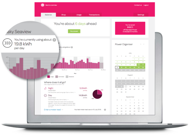Track your daily energy usage image of desktop Powershop account.
