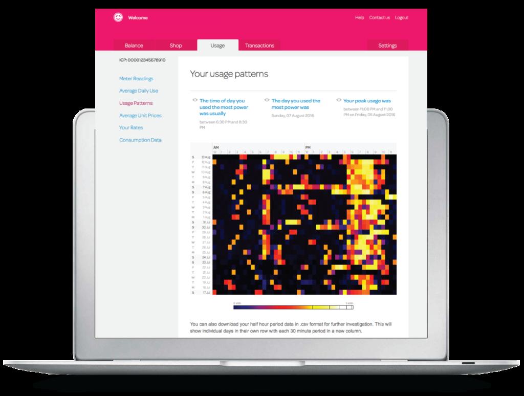 Track your energy usage patterns graph image of desktop app Powershop account.