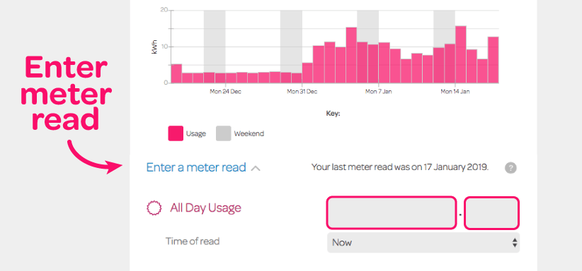 Screenshot of how to enter a meter read on your Powershop account on desktop