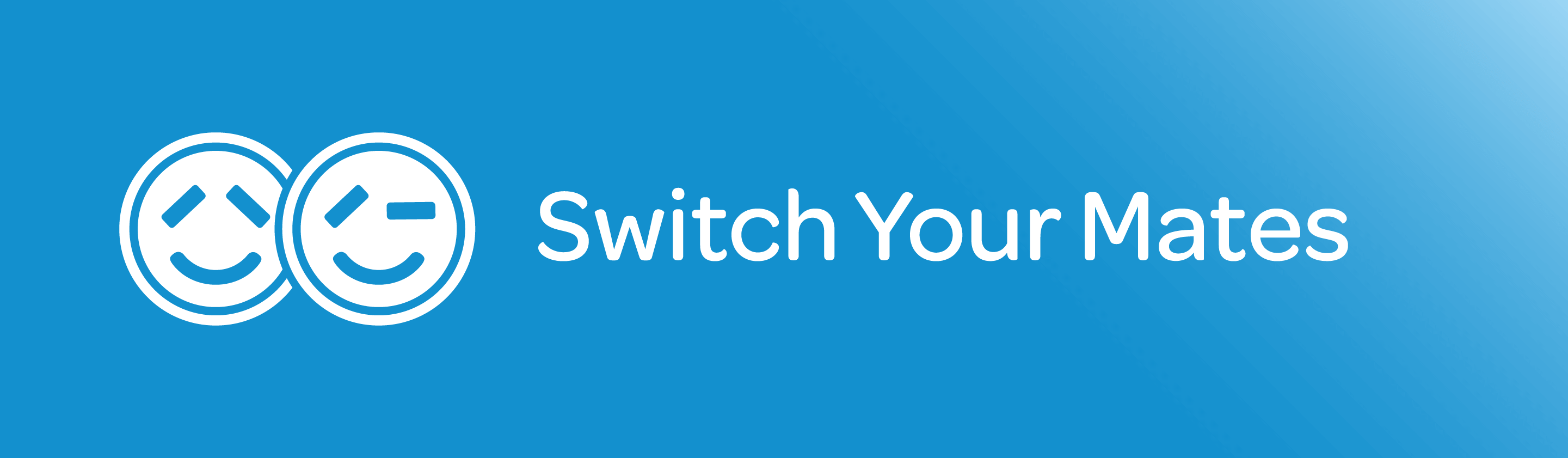 """""""Switch Your Mates"""" text on a blue background"""