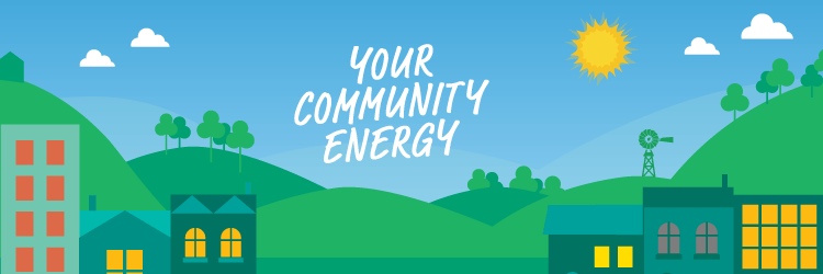 Illustration of community scene with hill sin background, city in foreground. It represents Your Community Energy - a community energy initiative by Powershop Australia