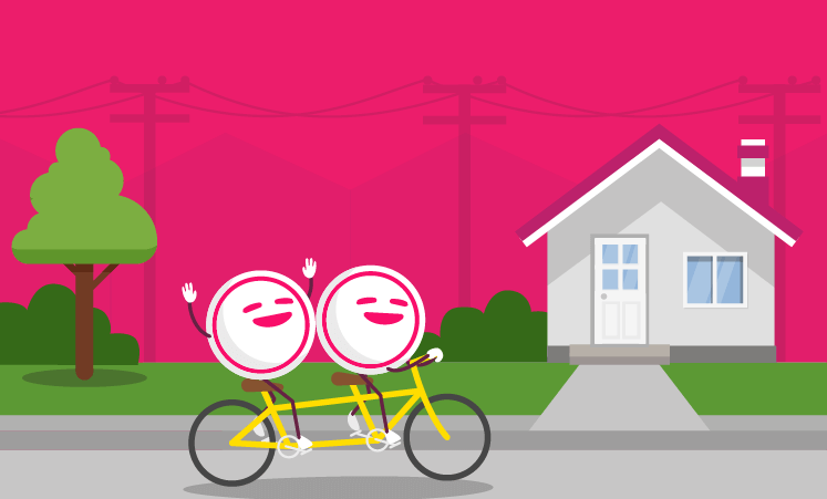 Graphic of houses with powerlines with happy people in the foreground