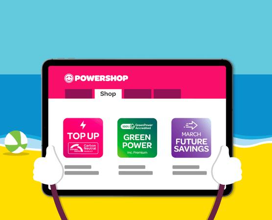 Graphic of the Powershop desktop app